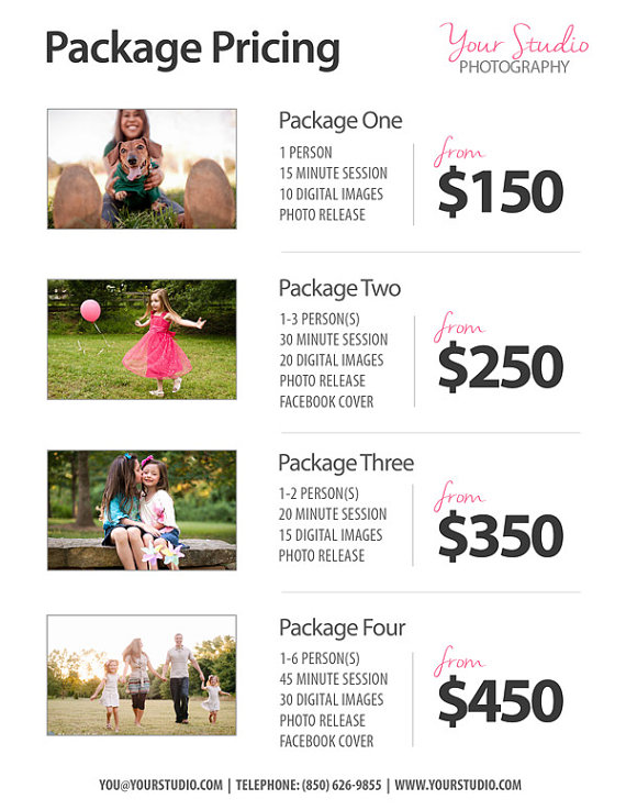 photography packages sample clear