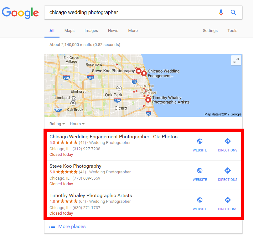 chicago wedding photographer map pack
