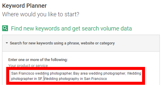 google keyword planner seo for wedding photographers