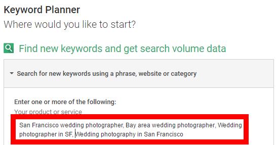 google keyword planner seo for wedding photographers