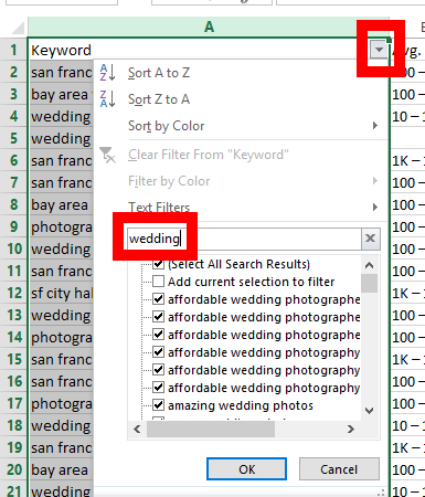 keyword tools for wedding photographers 2