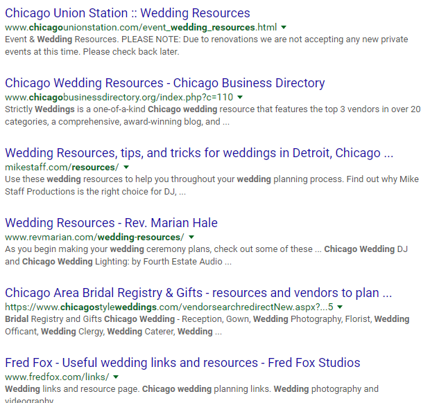 photography seo weddings in chicago
