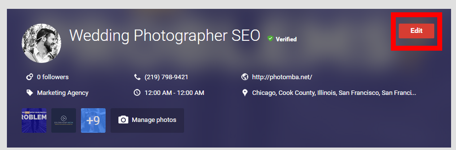 wedding photographer seo google business 2