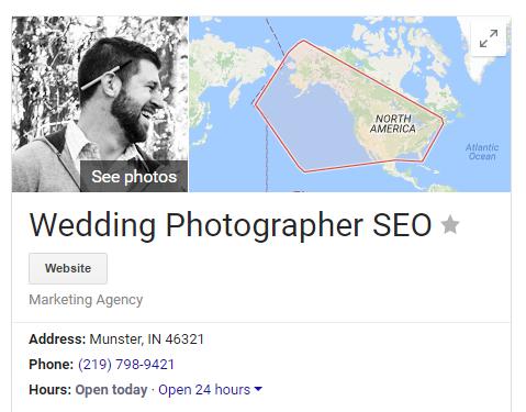 wedding photographer seo google business