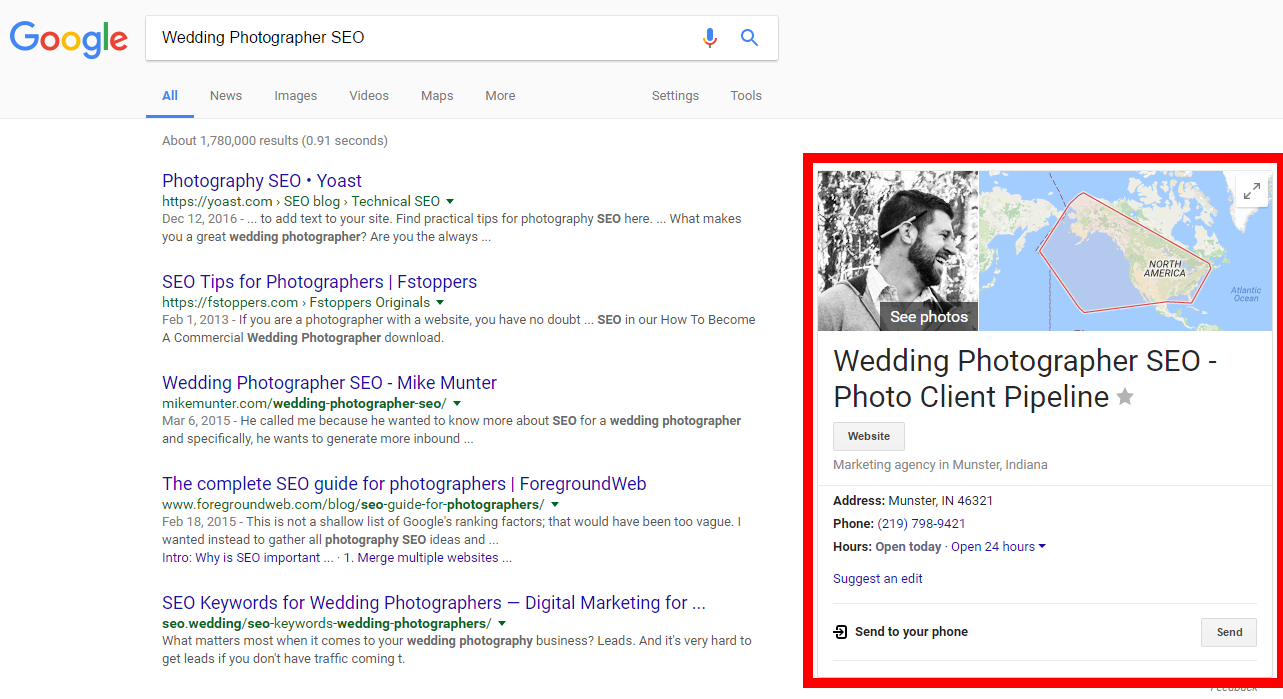 wedding photographer seo search google